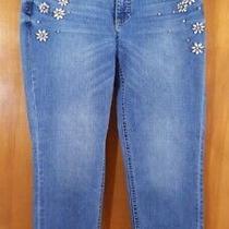 Talbots Size 8 8p Petite Light Wash Rhinestone Embellished Ankle Jeans  Photo