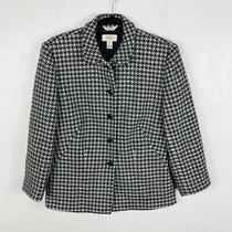 Talbots Size 8 Black White Wool Blazer Jacket 3 Button Work Career Event Photo
