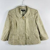 Talbots Size 8 Paisley Print Blazer Jacket Tan White Gold Work Career Event Photo
