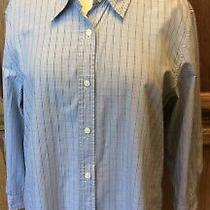 Talbots Size Large 100% Cotton 3/4 Sleeve Button Down Blue Striped Shirt Photo
