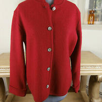 Talbots Size Medium Boiled Wool Red Button Down Jacket Photo