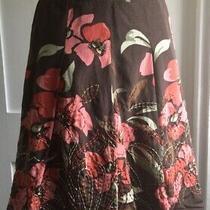 Talbots Skirt Brown Floral Pleats Cotton Silk Blend Sz 4 P Photo