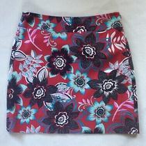 Talbots Skirt Cranberry Red Floral Cotton Blend Sz 4 Petite Photo