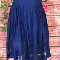 Talbots Skirt Size 4 Navy Blue Cotton Pleated Embroidery Modest Church Career Photo
