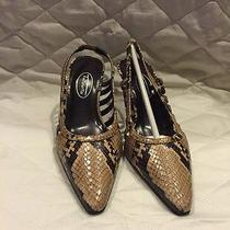 Talbots Snake Skin Leather Sling Back Heels Shoes 5.5m Made in Spain Photo