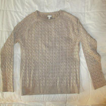 Talbots Soft Gold Metallic Cable Sweater L Photo