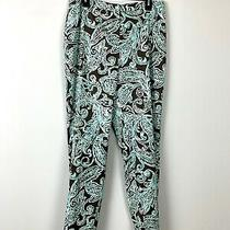 Talbots Stretch Brown Blue Paisley Print Silk Cotton Lined Pants Size 12 L  Photo