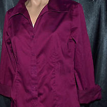 Talbots Stretch Burgundy Red Button Up Blouse Top Long Sleeve Sz 10 Photo