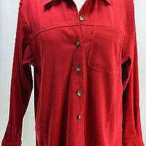 Talbots Stretch Red Button Down Dress Shirt Top Blouse Micro Suede Euc Sz M/l Photo