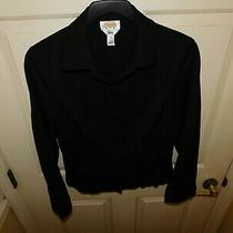 Talbots Stretch Women's Black Long Sleeve Button Down Blazer Size 10 Photo