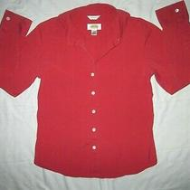 Talbots Stretch Women's Maroon Red Long Sleeve Button Down Shirt Blouse 6 Medium Photo