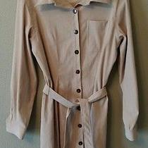Talbots Stretchy Faux Suede Shirt Dress Lg Sleeve Light Camel Women's 12 (1146) Photo