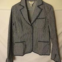 Talbots Streth Black White Stripe Blazer Cardigan Womens Size 8 Small Medium Photo