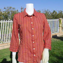 Talbots Striped 3/4 Sleeve Button Blouse Top Size 8 M 10 T291 Photo