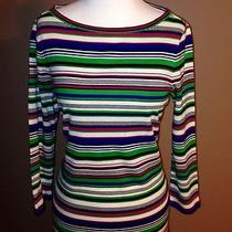Talbots Striped Knit Top So Softgorgeous Sz-S Bright Colors Photo