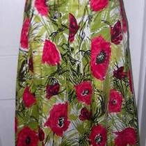 Talbots Stunning Lime Green/hot Pink Floral Butterfly Side Tie Skirt 6 New Photo