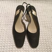 Talbots Suede Slingback Square Toe Low Heels Pumps Sandals 129 Olive Green 8 M Photo