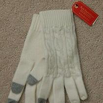 Talbots Supersoft Cableknit Tech-Touch Ivory Winter Gloves Nwt Photo