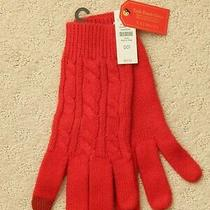 Talbots Supersoft Cableknit Tech-Touch Red Winter Gloves Nwt Photo
