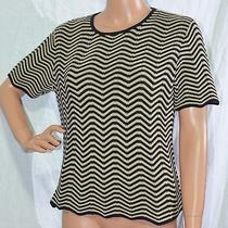 Talbots Sweater Size P M Black Beige Zig Zag Pattern Short Sleeve Top Knit Shirt Photo