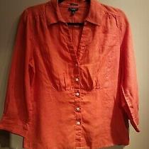 Talbots Sz 8 Orange Irish Linen Blouse With Free Scarf  Photo