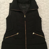Talbots Sz Xs Quilted Down Puffer Vest Black Gold Zipped Pockets Warm Faux Fur Photo