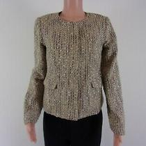 Talbots Tweed Zip Front Blazer Jacket        Size 8        Brown/gold Blend Photo