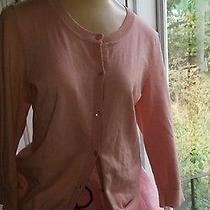 Talbots Vintage Pima Cotton Pink Front Button Cardigan Sweater Preowned Photo