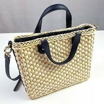 Talbots Weave Women's Handbag /tote Cream & Navy Preowned Photo