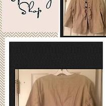 Talbots White Buttoned Casual Cotton Jacket With Ruffle Detail Size 16p Nwt Photo