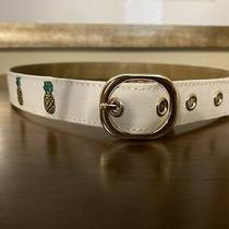 Talbots White Pineapple Belt With Gold  Buckle Xs Nwt Photo