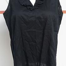 Talbots Woman Petites Black 100% Cotton Sleeveless Tank W/ Ruffles Sz 16w 13226 Photo