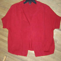 Talbots Woman Petites Sz Xp Red Heavy Short Sleeve Sweater Coat Cardigan 0214 Photo