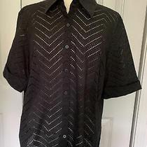 Talbots Woman Short Sleeve Black Cotton Button Down Top 18w Open Weave & Collar Photo