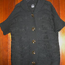 Talbots Woman Sz X Black Bulky Shortsleeve Sweater Cardigan Euc 0214 Photo