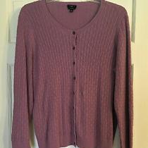 Talbots Woman Women's Cable Knit Cardigan Sweater Size 2x Purple Pima Cotton Photo