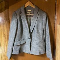 Talbots Women Blazer Jacket Gray Brown Tweed Wool Blend Pleated Pockets Size 8 Photo