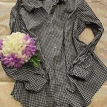 Talbots Women Button Down Blouse Black White Gold Plaid Shirt Long Sleeve Sz 16w Photo