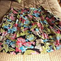 Talbots Women Cotton Floral a Line Skirt Size 12 Lined Cotton Photo