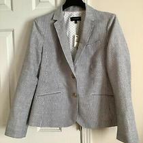 Talbots Women Gray White Striped Linen Cotton Blend Classic Blazer Size 12 Photo