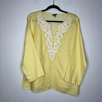 Talbots Womens 100% Linen Striped Yellow Top Beaded Neckline Size Large Photo