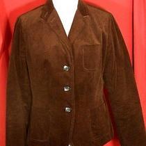 Talbots Women's 14 P Jacket Blazer Thin Corduroy Brown Banded Back Lined Euc Photo