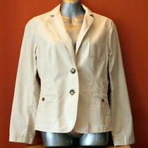 Talbots Women's Beige 100% Cotton Spring Blazer Jacket Size 12p Photo