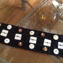 Talbots Women's Black Silk Beaded & Mother of Pearl Silk Belt Photo