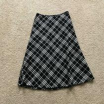 Talbots Womens Black Tea Length Plaid Skirt Size 6 Lined Wool Blend Holiday  Photo