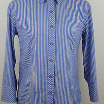 Talbots Women's Blue Striped Button Down Stretch Poplin Work Dress Shirt Sz 10 Photo