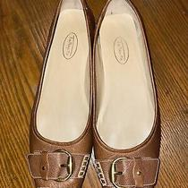 Talbots Womens Brown Leather Square Toed Flats Size 9.5b With Gold Buckle Photo
