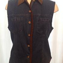 Talbots Women's Denim Button Down Vest Shirt Sz Medium Faux Suede New With Tags Photo
