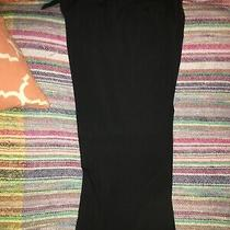 Talbots Womens Dress Pants Cropped Wide Legs Size 8 Black Pleated Photo