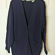 Talbots Women's M Dark Purple 100% Merino Wool Long Sleeve Cardigan Sweater Photo